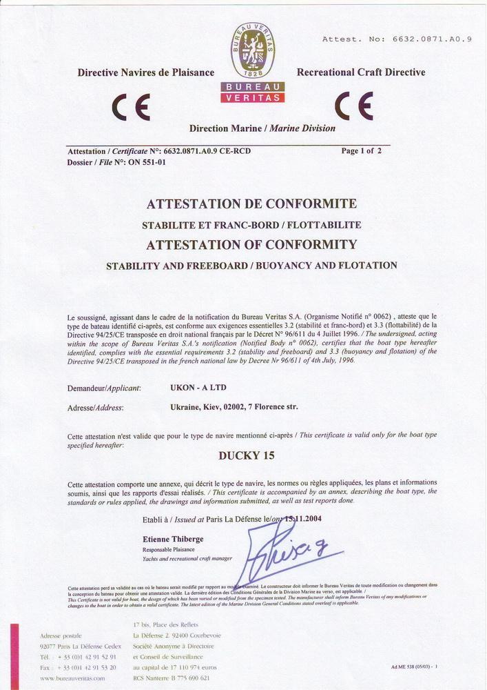Ducky 15 certificate