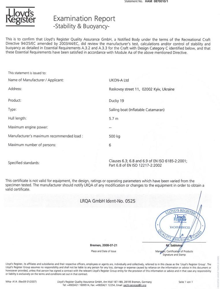 Ducky 19 certificate